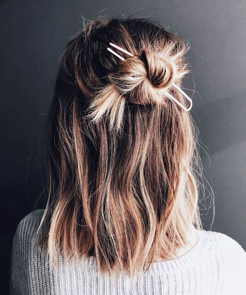 Cute Half Up, Half Down Bun Hairstyles