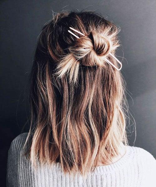 Cute Half Up, Half Down Bun Hairstyles