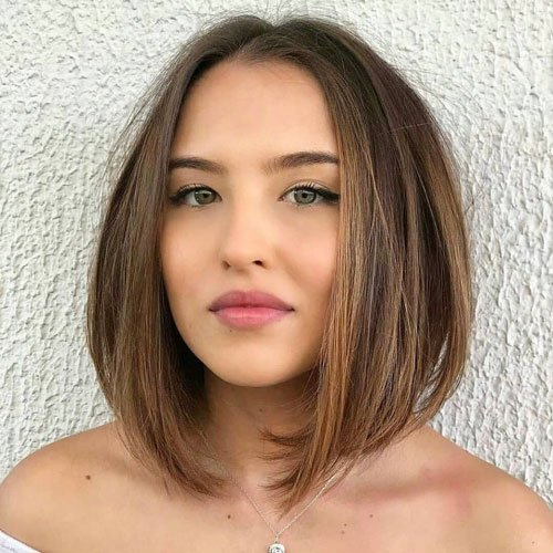 Inverted Bob For Round Face