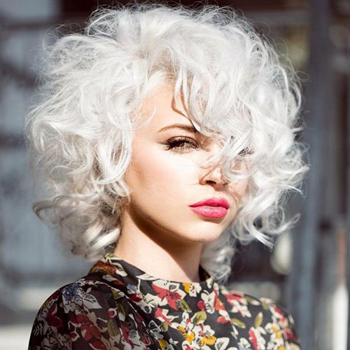 Platinum Blonde Curly Bob