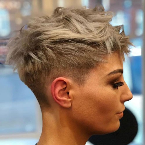 Platinum Blonde Pixie Cut For Thick Hair