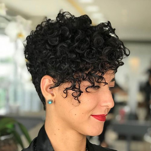 Shaved Pixie Cut with Curly Bangs