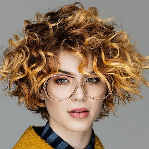 Short Curly Cut with Sweeping Side Bangs