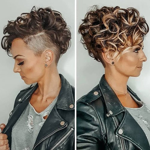 Short Curly Hair with Shaved Sides and Bangs