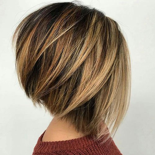 Short Layered Inverted Bob Haircut