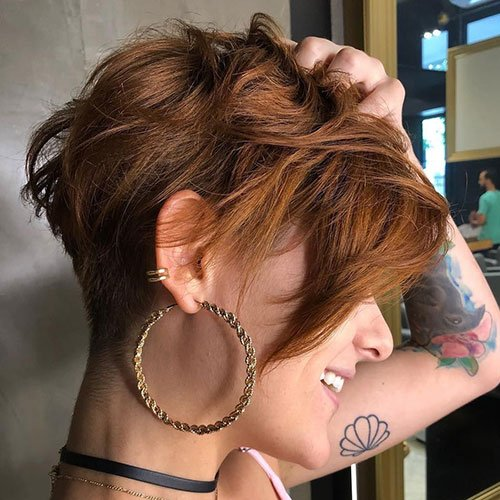 Side Fringed Pixie For Thick Hair