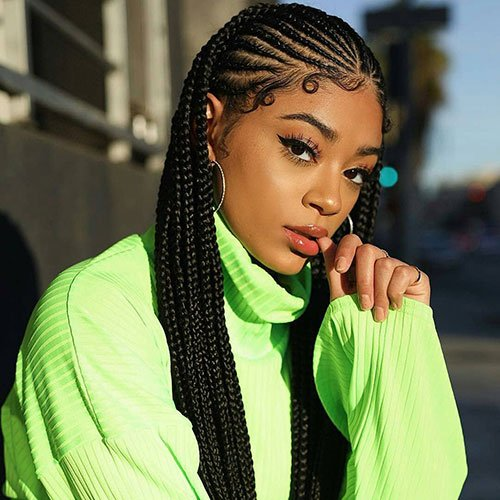 Jamaican Cornrow Hairstyles: Small Cornrows Going Back