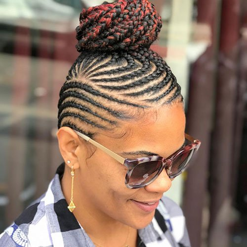 Updo Cornrow Hairstyle