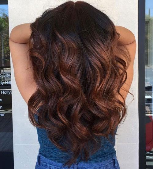 Black Hair with Auburn Highlights