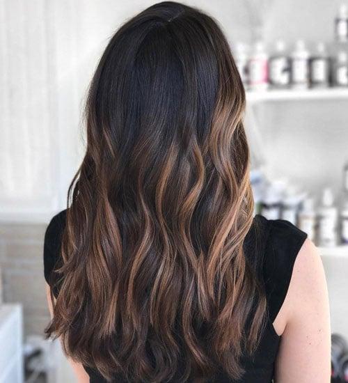 Black Hair with Caramel Highlights