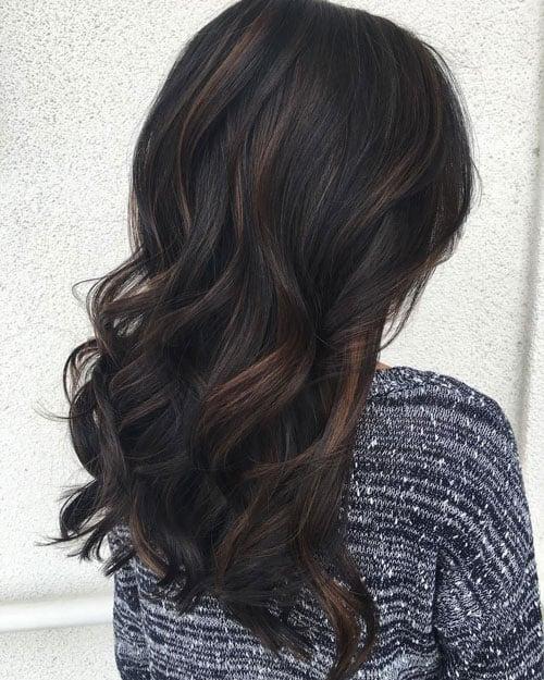 Black Hair with Highlights Ideas