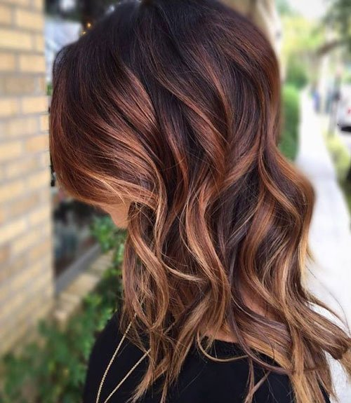 Brown Hair with Blonde and Auburn Highlights