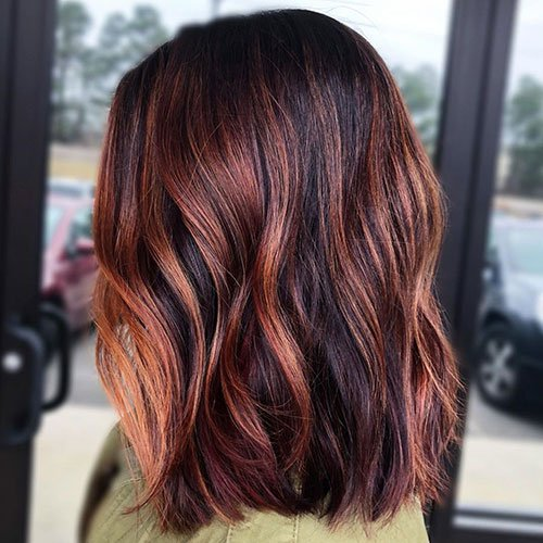Copper Highlights on Black Hair