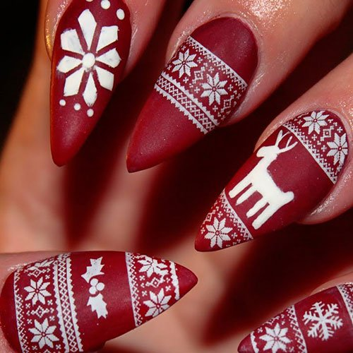 Cute Christmas Stiletto Nails
