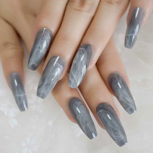 Cute Grey Coffin Nails