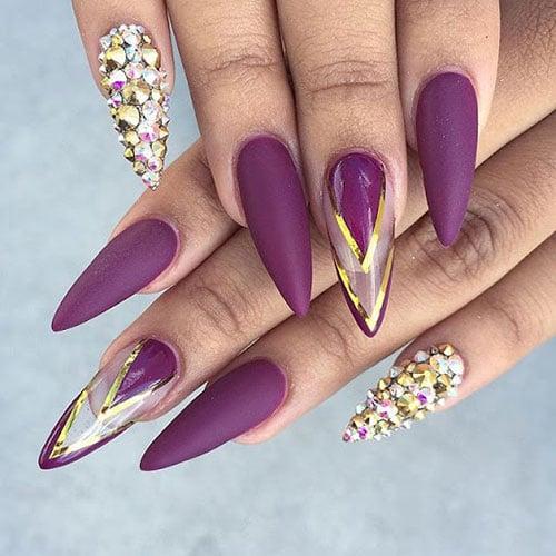 Cute Purple Stiletto Nails