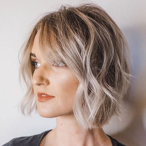 Cute Wavy Bob with Bangs