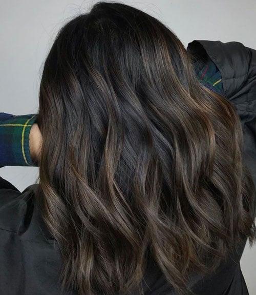 Dark Brown Highlights on Black Hair