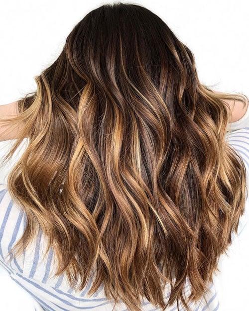 Honey Blonde Highlights on Black Hair