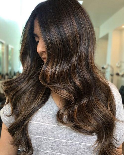 Light Brown Highlights on Black Hair
