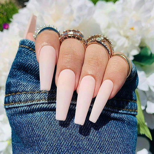 Long Coffin Acrylic Nails