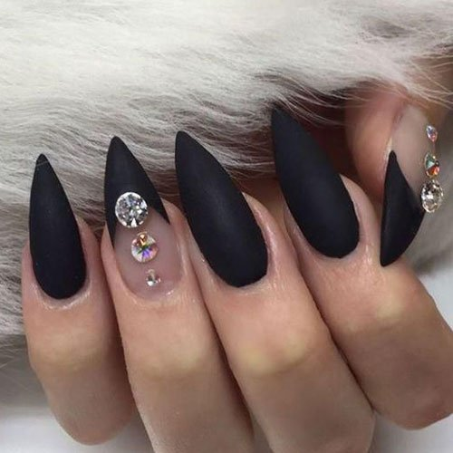 Matte Black Pointy Nails