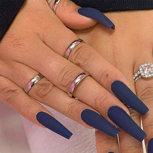 Matte Blue Coffin Nails
