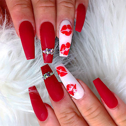 Red Coffin Shaped Nails