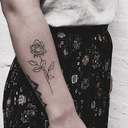 Rose Outline Tattoo