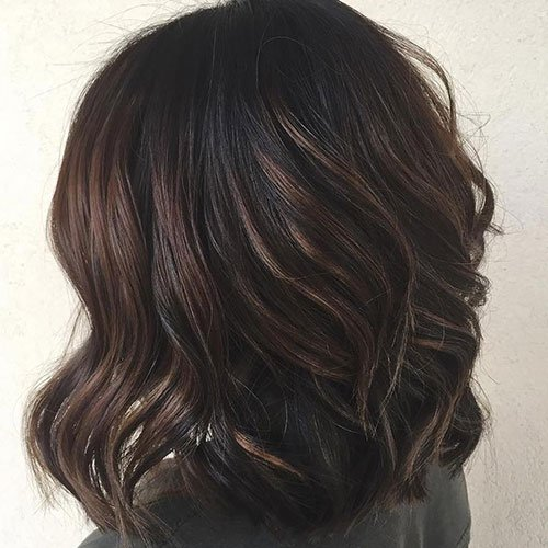 Short Black Hair with Highlights