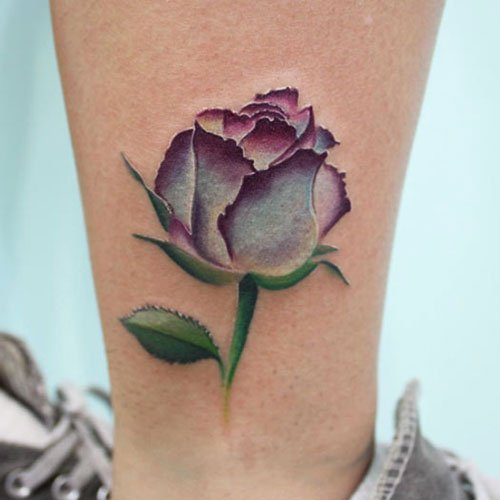 Simple Purple Rose Tattoo
