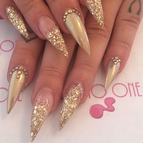 Stiletto Nails Glitter Tips