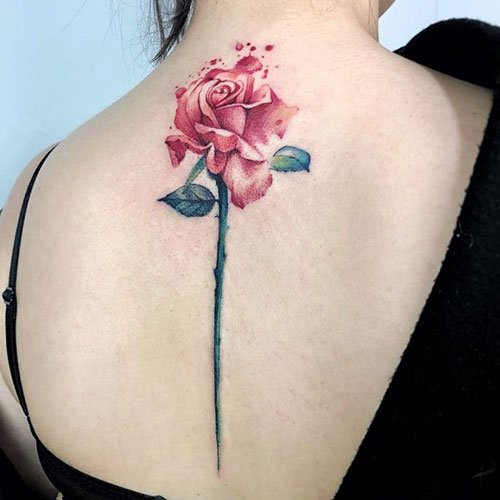 Watercolor Rose Back Tattoo