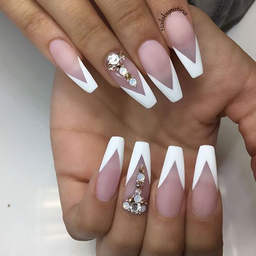 White Tip Coffin Nails