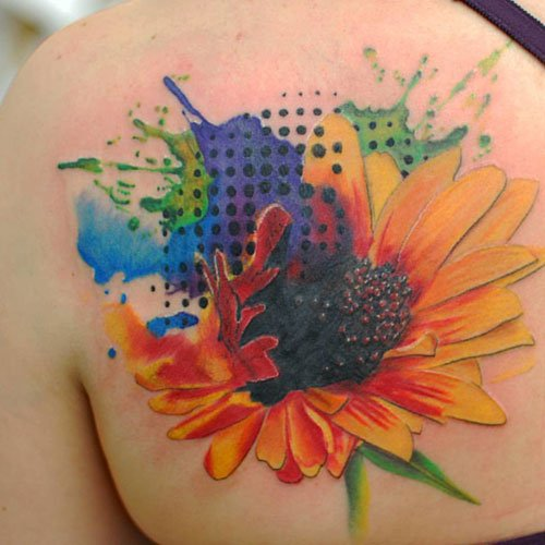 Abstract Watercolor Sunflower Tattoo