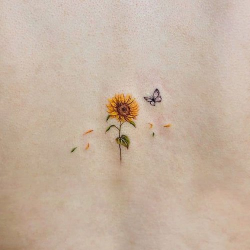 Adorable Small Sunflower Tattoo