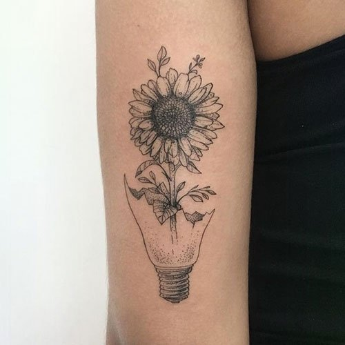 Amazing Black and White Sunflower Tattoo