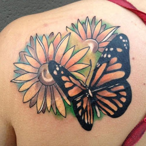 Amazing Sunflower Back Tattoo Designs