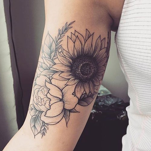 Arm Sunflower Tattoo