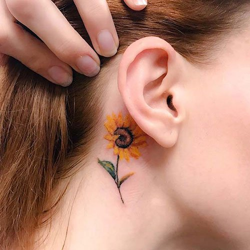 Behind The Ear Sunflower Tattoo