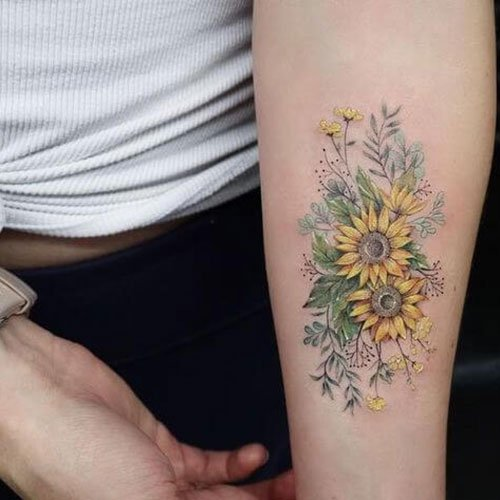 Best Sunflower Forearm Tattoo
