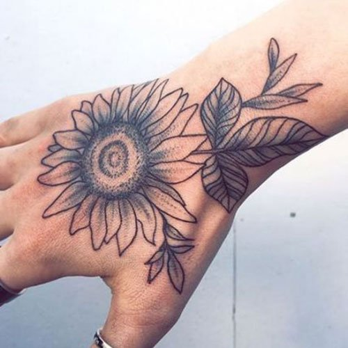 Big Sunflower Tattoo On Hand