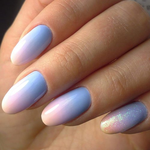 Blue and Orange Ombre Nails