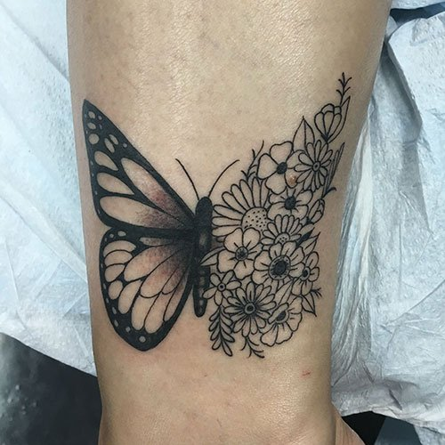 Butterfly with Sunflowers Tattoo