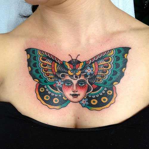 Colorful Butterfly Chest Tattoo
