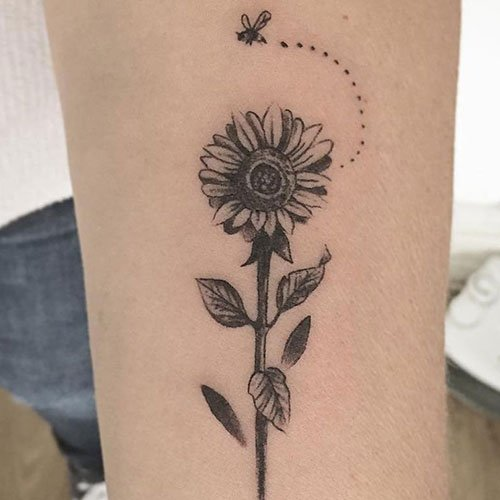 Cute Forearm Sunflower Tattoo Design Ideas