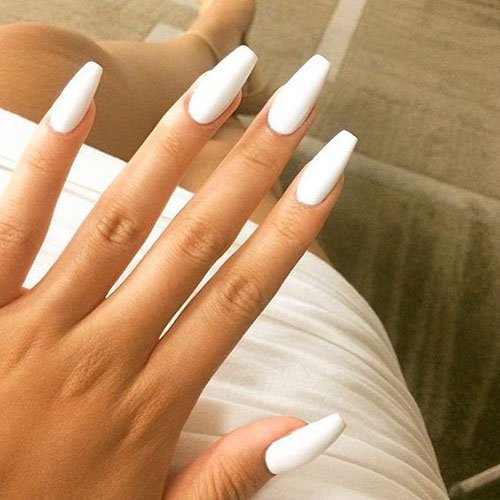 Cute White Matte Nail Designs