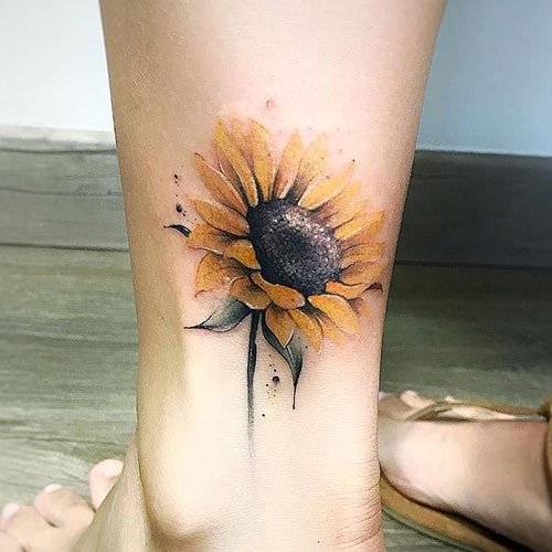 Delicate Sunflower Tattoo
