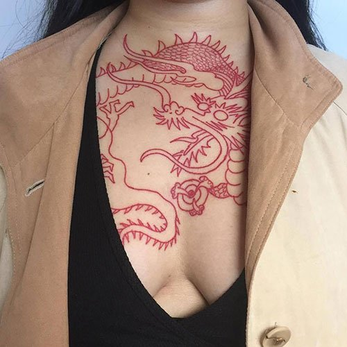 Dragon Outline Chest Tattoo