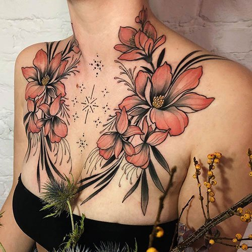 Flower Chest Tattoo